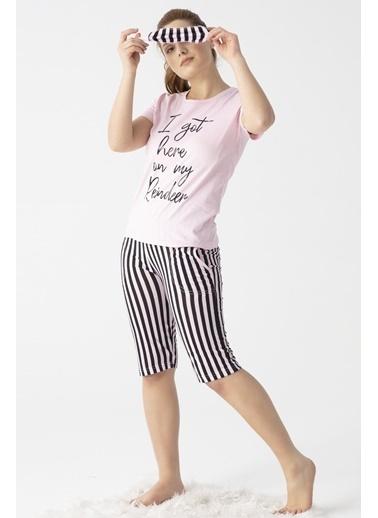 Pemilo Kadın 3100-3 Çizgili Göz Bantlı Kapri Pijama Takımı PEMBE Pembe